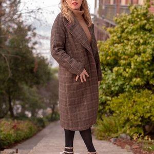 Avec les Filles brown plaid wool coat sz small